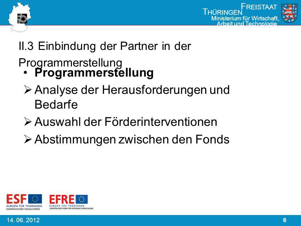 614. 06. 2012 F REISTAAT T HÜRINGEN Ministerium für Wirtschaft, Arbeit und Technologie II.3 Einbindung der Partner in der Programmerstellung Programme