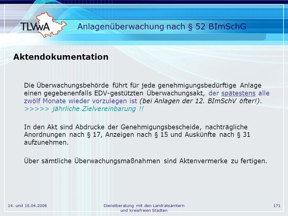 14. und 15.04.2008Dienstberatung mit den Landratsämtern und kreisfreien Städten 171 Anlagenüberwachung nach § 52 BImSchG Aktendokumentation Die Überwa