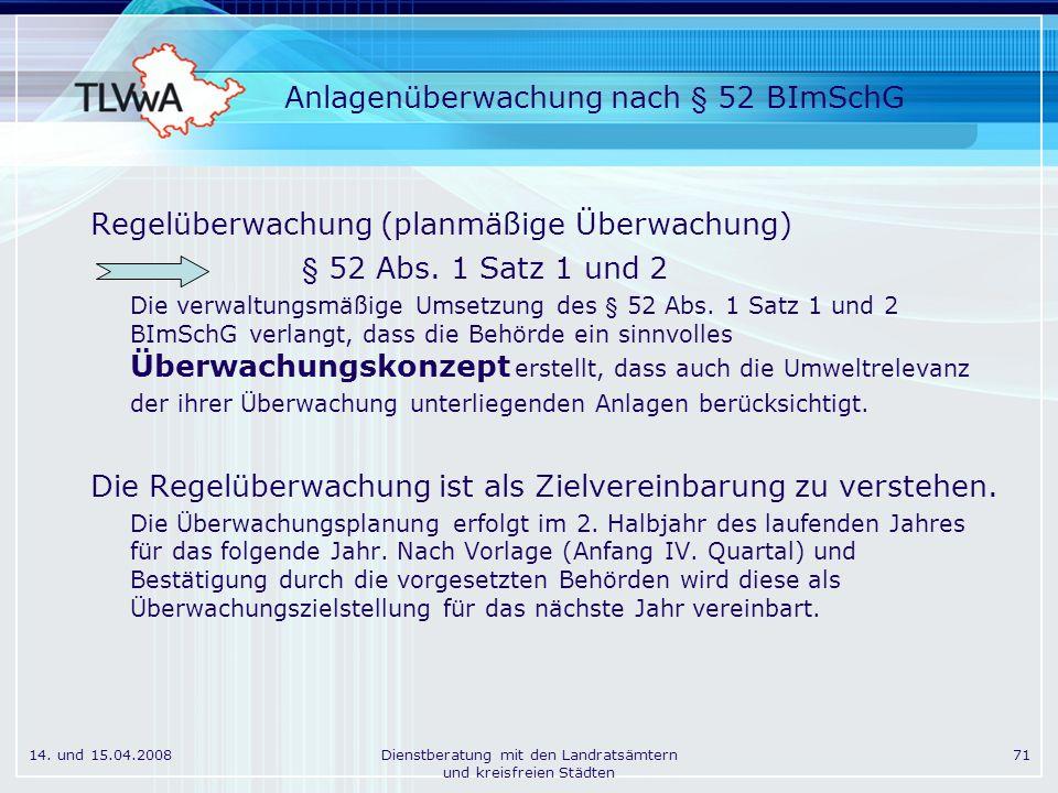 14. und 15.04.2008Dienstberatung mit den Landratsämtern und kreisfreien Städten 71 Anlagenüberwachung nach § 52 BImSchG Regelüberwachung (planmäßige Ü