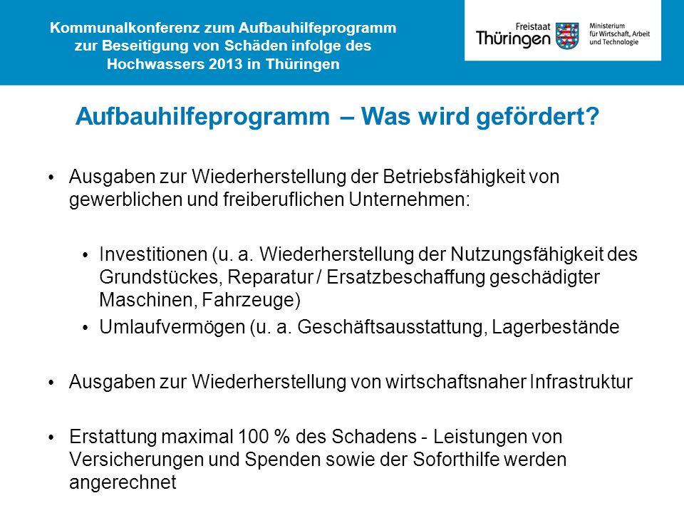 Ausgaben zur Wiederherstellung der Betriebsfähigkeit von gewerblichen und freiberuflichen Unternehmen: Investitionen (u. a. Wiederherstellung der Nutz