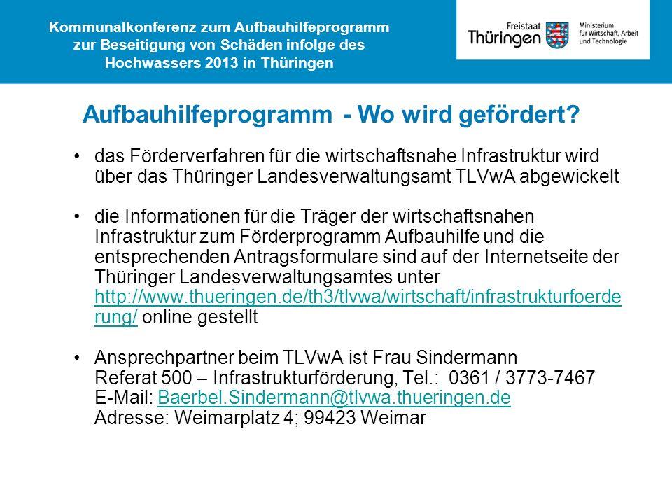das Förderverfahren für die wirtschaftsnahe Infrastruktur wird über das Thüringer Landesverwaltungsamt TLVwA abgewickelt die Informationen für die Trä