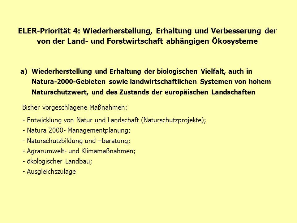 ELER-Priorität 4: Wiederherstellung, Erhaltung und Verbesserung der von der Land- und Forstwirtschaft abhängigen Ökosysteme a)Wiederherstellung und Er