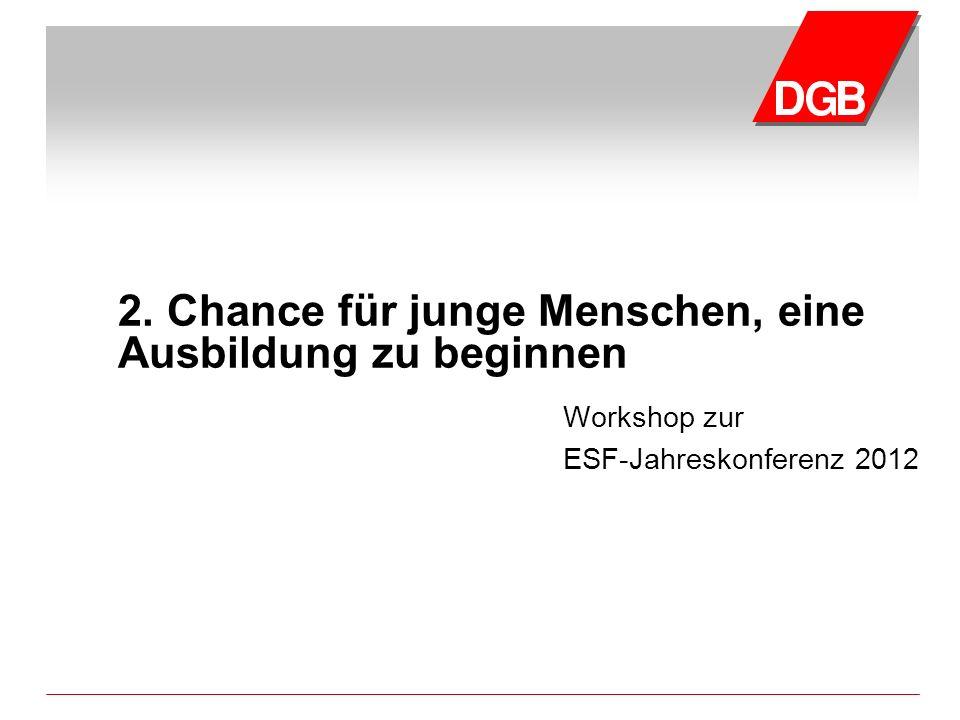 2. Chance für junge Menschen, eine Ausbildung zu beginnen Workshop zur ESF-Jahreskonferenz 2012