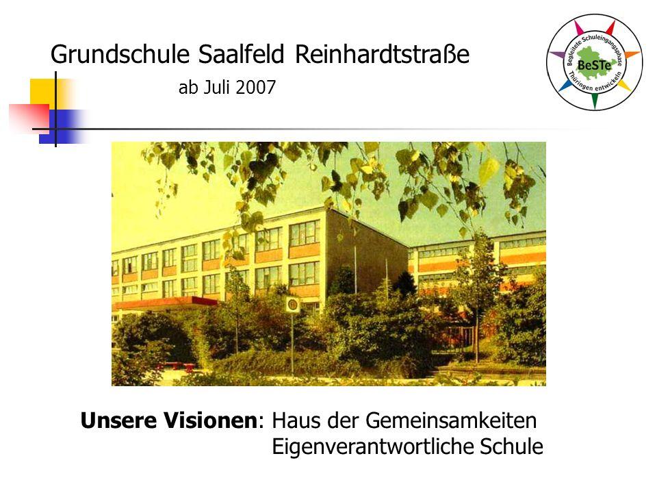 Grundschule Saalfeld Reinhardtstraße ab Juli 2007 Unsere Visionen: Haus der Gemeinsamkeiten Eigenverantwortliche Schule