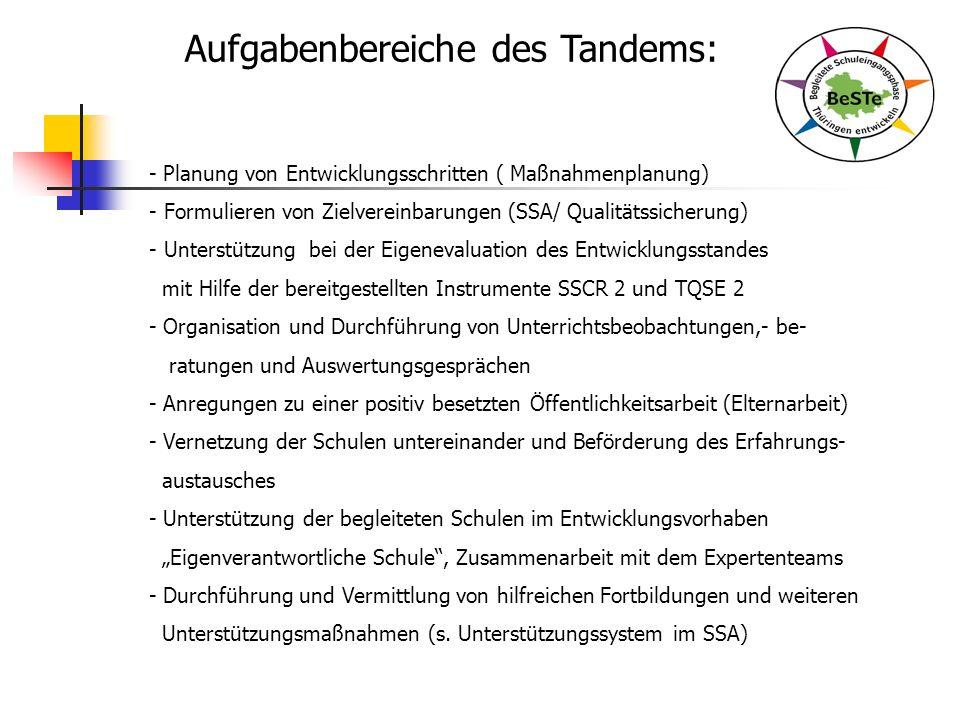 Aufgabenbereiche des Tandems: - Planung von Entwicklungsschritten ( Maßnahmenplanung) - Formulieren von Zielvereinbarungen (SSA/ Qualitätssicherung) - Unterstützung bei der Eigenevaluation des Entwicklungsstandes mit Hilfe der bereitgestellten Instrumente SSCR 2 und TQSE 2 - Organisation und Durchführung von Unterrichtsbeobachtungen,- be- ratungen und Auswertungsgesprächen - Anregungen zu einer positiv besetzten Öffentlichkeitsarbeit (Elternarbeit) - Vernetzung der Schulen untereinander und Beförderung des Erfahrungs- austausches - Unterstützung der begleiteten Schulen im Entwicklungsvorhaben Eigenverantwortliche Schule, Zusammenarbeit mit dem Expertenteams - Durchführung und Vermittlung von hilfreichen Fortbildungen und weiteren Unterstützungsmaßnahmen (s.