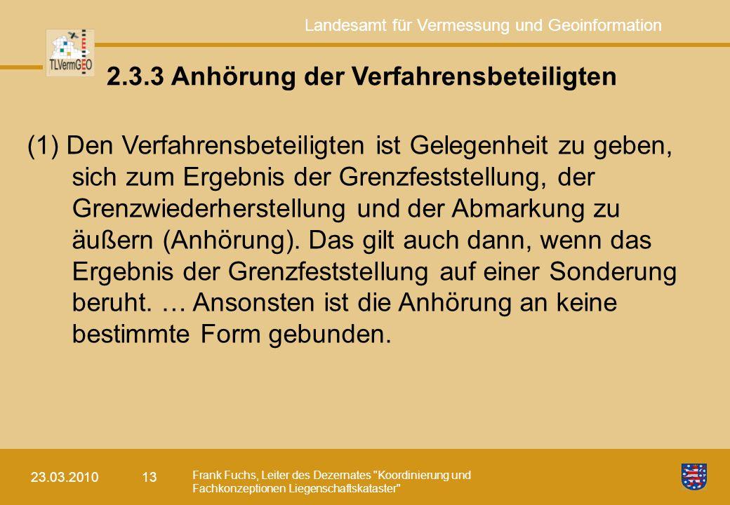 Landesamt für Vermessung und Geoinformation Frank Fuchs, Leiter des Dezernates