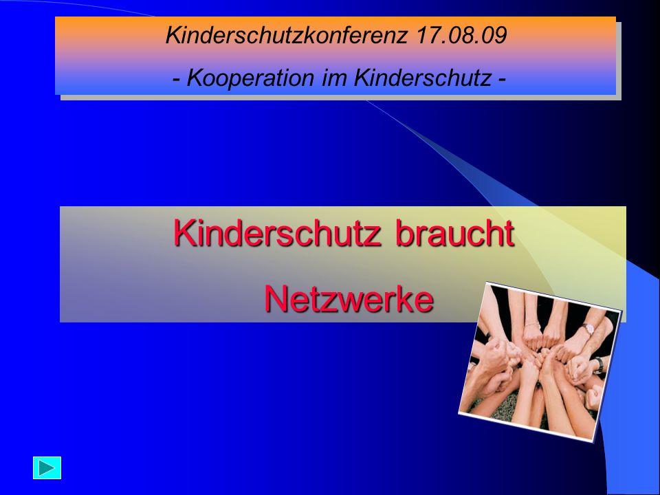 Kinderschutzkonferenz 17.08.09 - Kooperation im Kinderschutz - Kinderschutzkonferenz 17.08.09 - Kooperation im Kinderschutz - Kinderschutz braucht Net