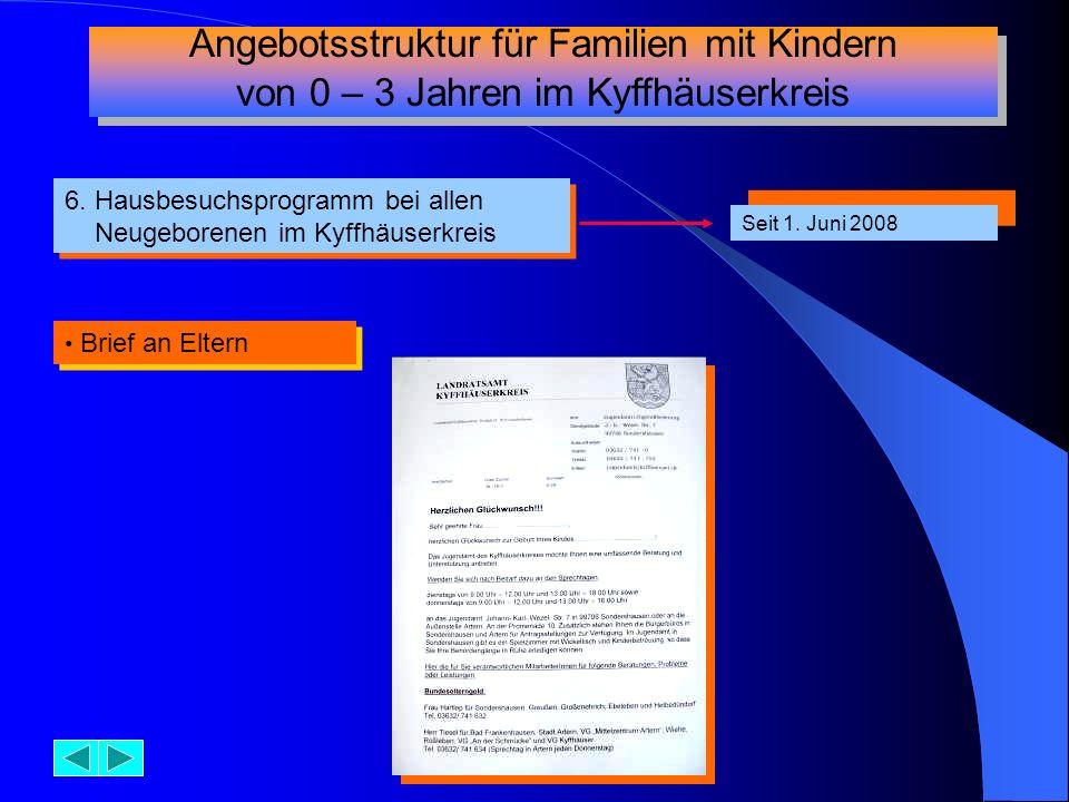 6. Hausbesuchsprogramm bei allen Neugeborenen im Kyffhäuserkreis Seit 1. Juni 2008 Brief an Eltern Angebotsstruktur für Familien mit Kindern von 0 – 3