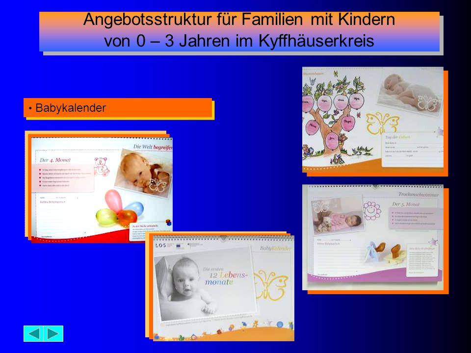 Babykalender Angebotsstruktur für Familien mit Kindern von 0 – 3 Jahren im Kyffhäuserkreis Angebotsstruktur für Familien mit Kindern von 0 – 3 Jahren