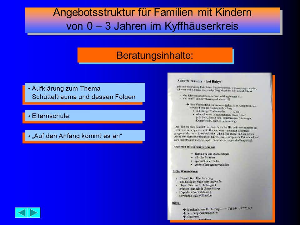 Aufklärung zum Thema Schütteltrauma und dessen Folgen Aufklärung zum Thema Schütteltrauma und dessen Folgen Beratungsinhalte: Elternschule Auf den Anf
