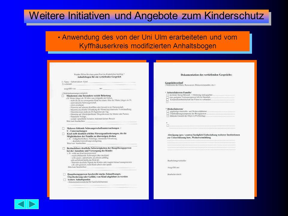 Weitere Initiativen und Angebote zum Kinderschutz Anwendung des von der Uni Ulm erarbeiteten und vom Kyffhäuserkreis modifizierten Anhaltsbogen