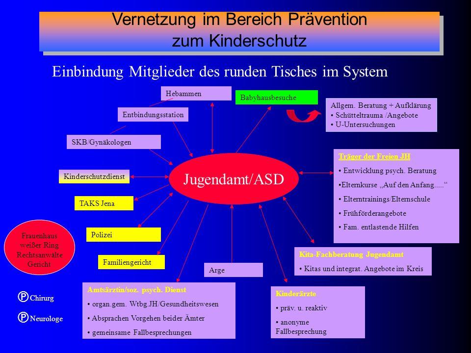Vernetzung im Bereich Prävention zum Kinderschutz Vernetzung im Bereich Prävention zum Kinderschutz Einbindung Mitglieder des runden Tisches im System