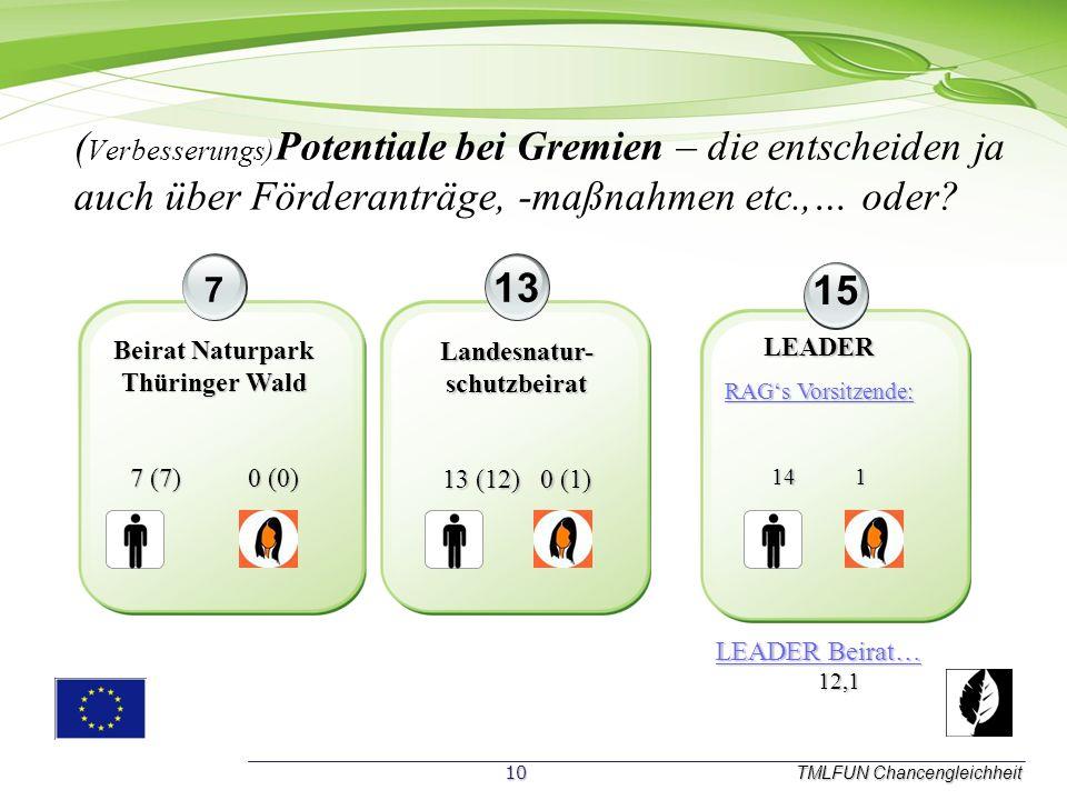 Bitte um aktive Mitarbeit, aufgrund von Erfahrungen aus der laufenen Förderperiode! TMLFUN Chancengleichheit 12 3 Mängel: Mängel: Umsetzung von GM in