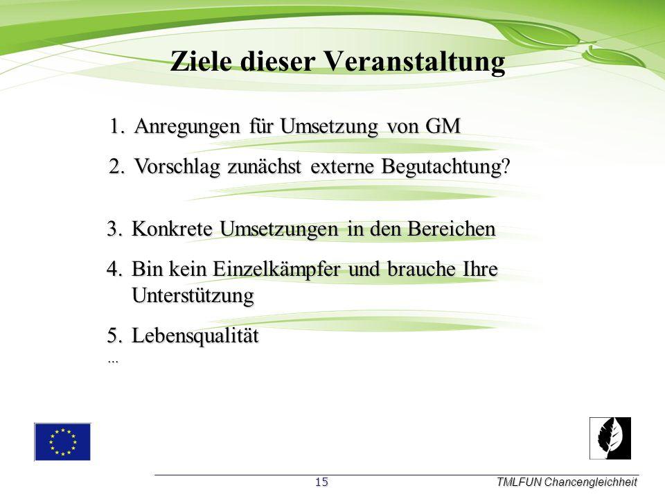Ziele dieser Veranstaltung TMLFUN Chancengleichheit 1.A nregungen für Umsetzung von GM 2.V orschlag zunächst externe Begutachtung.