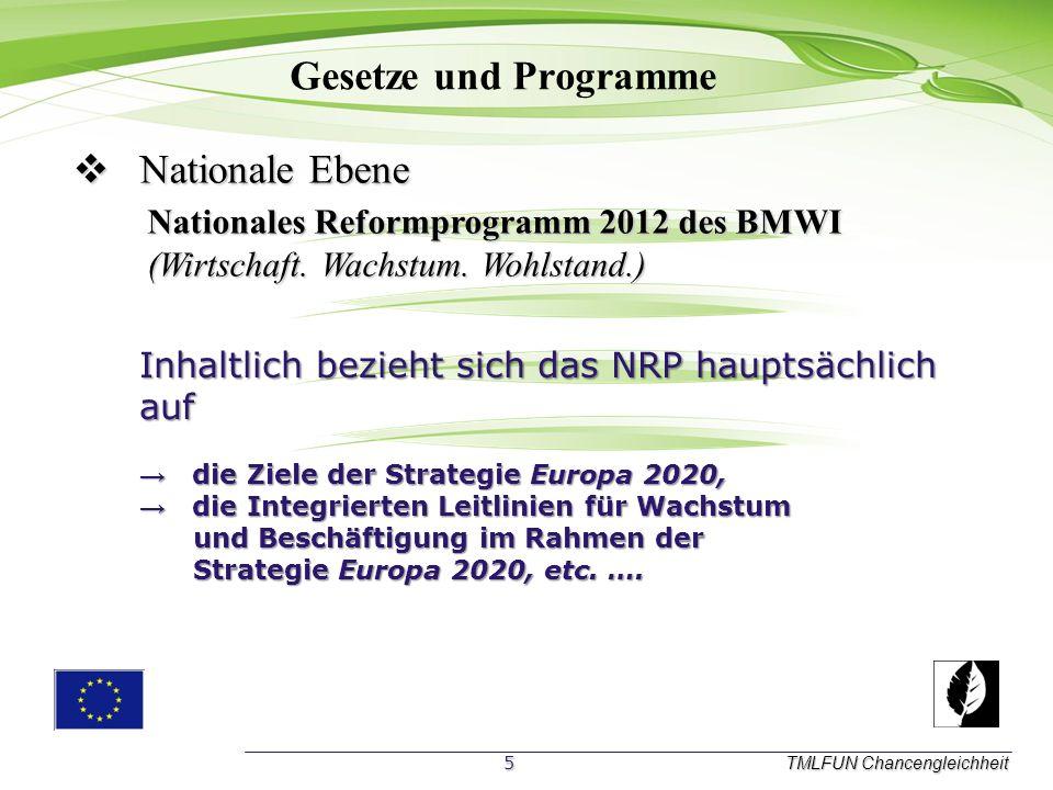 Gesetze und Programme TMLFUN Chancengleichheit N Nationale Ebene Nationales Reformprogramm 2012 des BMWI (Wirtschaft.