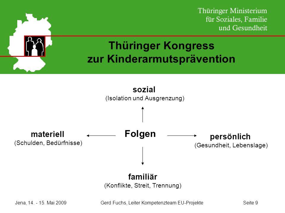 Jena, 14. - 15. Mai 2009 Gerd Fuchs, Leiter Kompetenzteam EU-Projekte Seite 9 Thüringer Kongress zur Kinderarmutsprävention Folgen sozial (Isolation u