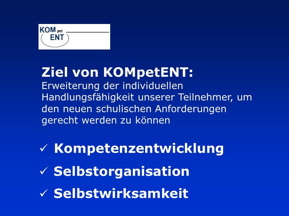 Kompetenzentwicklung Selbstorganisation Selbstwirksamkeit Ziel von KOMpetENT: Erweiterung der individuellen Handlungsfähigkeit unserer Teilnehmer, um den neuen schulischen Anforderungen gerecht werden zu können