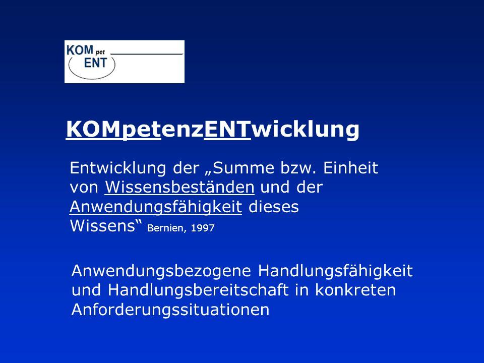 Entwicklung der Summe bzw. Einheit von Wissensbeständen und der Anwendungsfähigkeit dieses Wissens Bernien, 1997 KOMpetenzENTwicklung Anwendungsbezoge