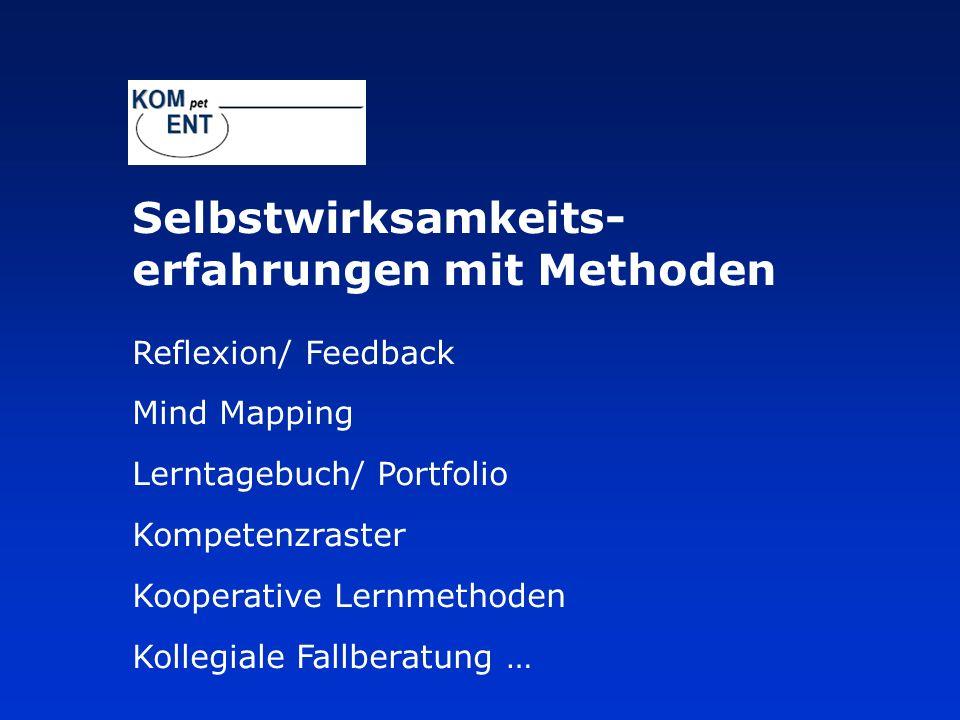 Selbstwirksamkeits- erfahrungen mit Methoden Reflexion/ Feedback Mind Mapping Lerntagebuch/ Portfolio Kompetenzraster Kooperative Lernmethoden Kollegi