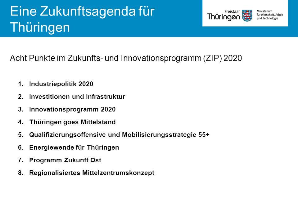 1.Industriepolitik 2020 2.Investitionen und Infrastruktur 3.Innovationsprogramm 2020 4.Thüringen goes Mittelstand 5.Qualifizierungsoffensive und Mobil