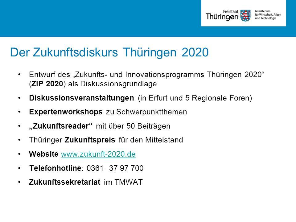 Entwurf des Zukunfts- und Innovationsprogramms Thüringen 2020 (ZIP 2020) als Diskussionsgrundlage. Diskussionsveranstaltungen (in Erfurt und 5 Regiona