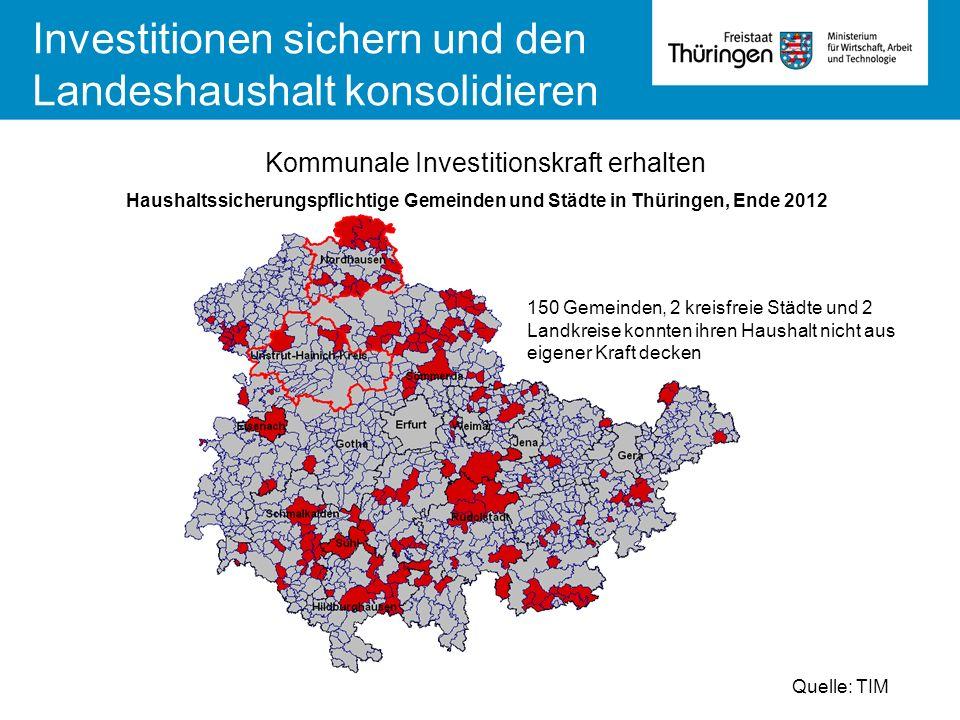 Kommunale Investitionskraft erhalten Haushaltssicherungspflichtige Gemeinden und Städte in Thüringen, Ende 2012 Quelle: TIM 150 Gemeinden, 2 kreisfrei