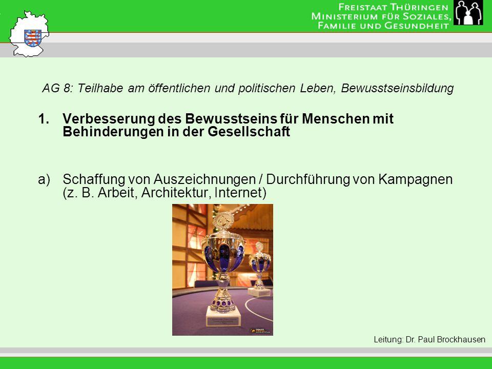 AG 8: Teilhabe am öffentlichen und politischen Leben, Bewusstseinsbildung Leitung: Eva Morgenroth 1.Verbesserung des Bewusstseins für Menschen mit Behinderungen in der Gesellschaft a)Schaffung von Auszeichnungen / Durchführung von Kampagnen (z.