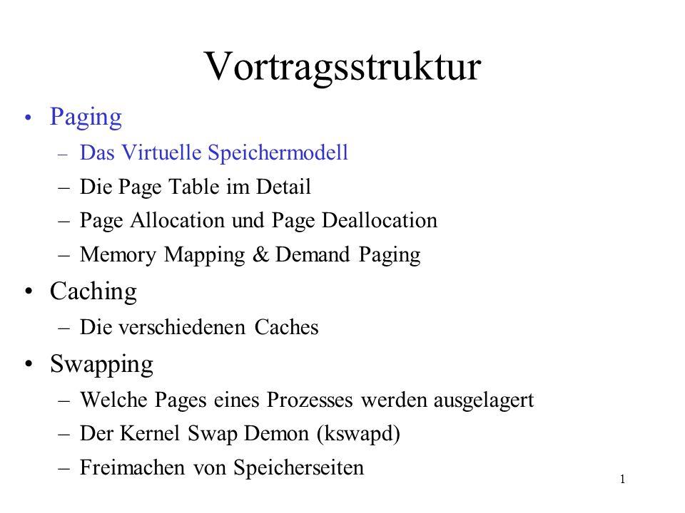 1 PFN 3 PFN 2 PFN 1 PFN 0 PFN 7 PFN 6 PFN 5 PFN 4 Working Set eines Prozesses Least Recently Used (LRU) Technik zur Bestimmung des Seitenalters count age map_nr count age map_nr mem_map_t Linux Prozess mit Seiten im physischen Speicher