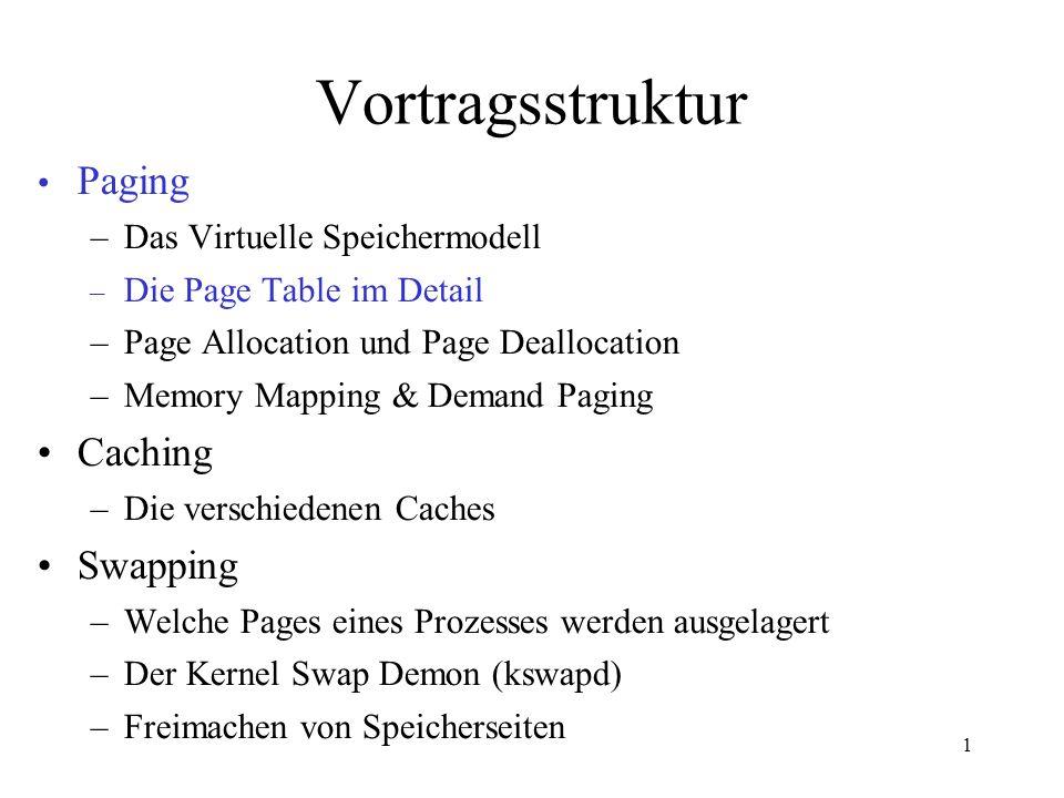 1 Vortragsstruktur Paging –Das Virtuelle Speichermodell –Die Page Table im Detail –Page Allocation und Page Deallocation – Memory Mapping und Demand Paging Caching –Die verschiedenen Caches Swapping –Welche Pages eines Prozesses werden ausgelagert –Der Kernel Swap Demon (kswapd) –Freimachen von Speicherseiten