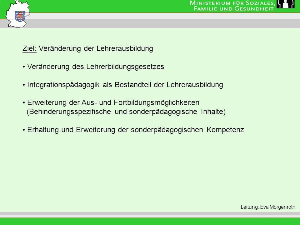 Leitung: Eva Morgenroth Ziel: Veränderung der Lehrerausbildung Veränderung des Lehrerbildungsgesetzes Integrationspädagogik als Bestandteil der Lehrer