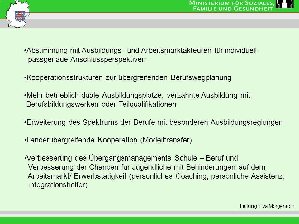 Leitung: Eva Morgenroth Abstimmung mit Ausbildungs- und Arbeitsmarktakteuren für individuell- passgenaue Anschlussperspektiven Kooperationsstrukturen