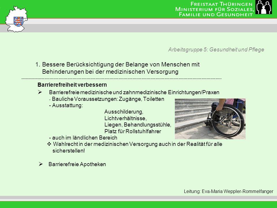 Arbeitsgruppe 5: Gesundheit und Pflege Leitung: Eva Morgenroth 1. Bessere Berücksichtigung der Belange von Menschen mit Behinderungen bei der medizini