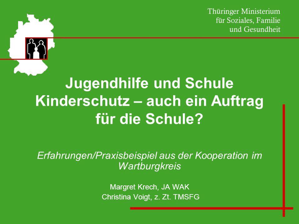 Erfahrungen/Praxisbeispiel aus der Kooperation im Wartburgkreis Margret Krech, JA WAK Christina Voigt, z.