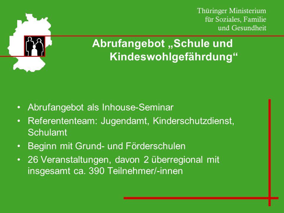 Abrufangebot Schule und Kindeswohlgefährdung Themenschwerpunkt: Rechtliche Grundlagen GG BGB § 55 a ThürSchulG seit Dezember 2008
