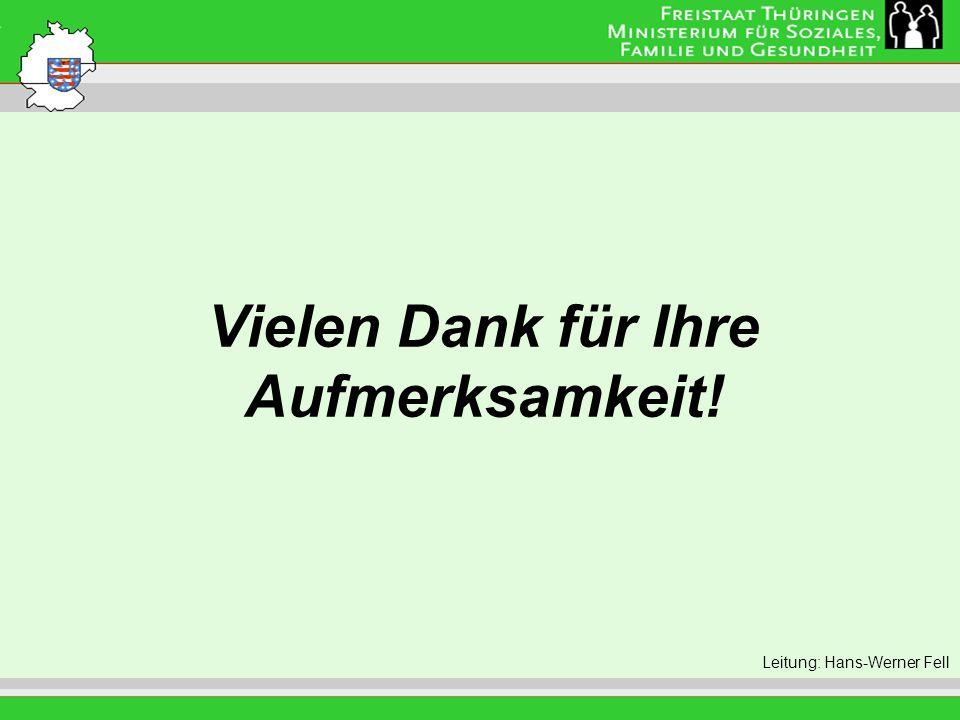 Vielen Dank für Ihre Aufmerksamkeit! Leitung: Eva Morgenroth Leitung: Hans-Werner Fell