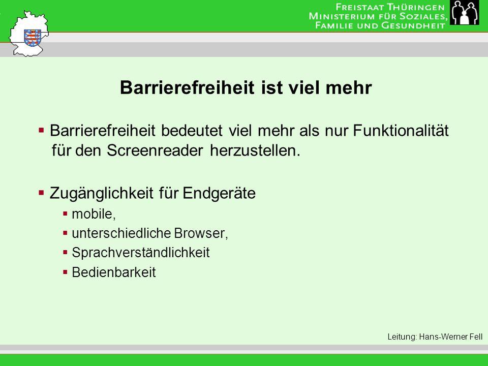 Barrierefreiheit ist viel mehr Leitung: Eva Morgenroth Barrierefreiheit bedeutet viel mehr als nur Funktionalität für den Screenreader herzustellen. Z