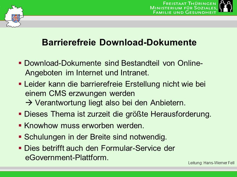 Barrierefreie Download-Dokumente Leitung: Eva Morgenroth Download-Dokumente sind Bestandteil von Online- Angeboten im Internet und Intranet. Leider ka
