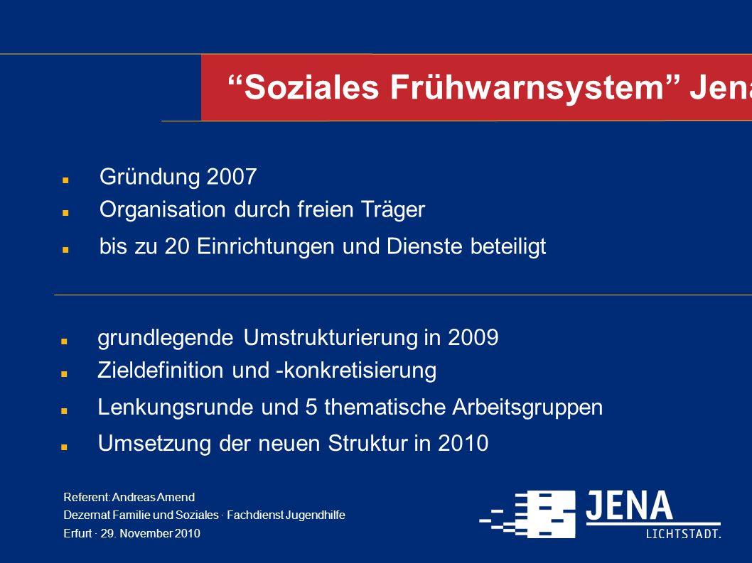 Soziales Frühwarnsystem Jena Gründung 2007 Organisation durch freien Träger bis zu 20 Einrichtungen und Dienste beteiligt grundlegende Umstrukturierun
