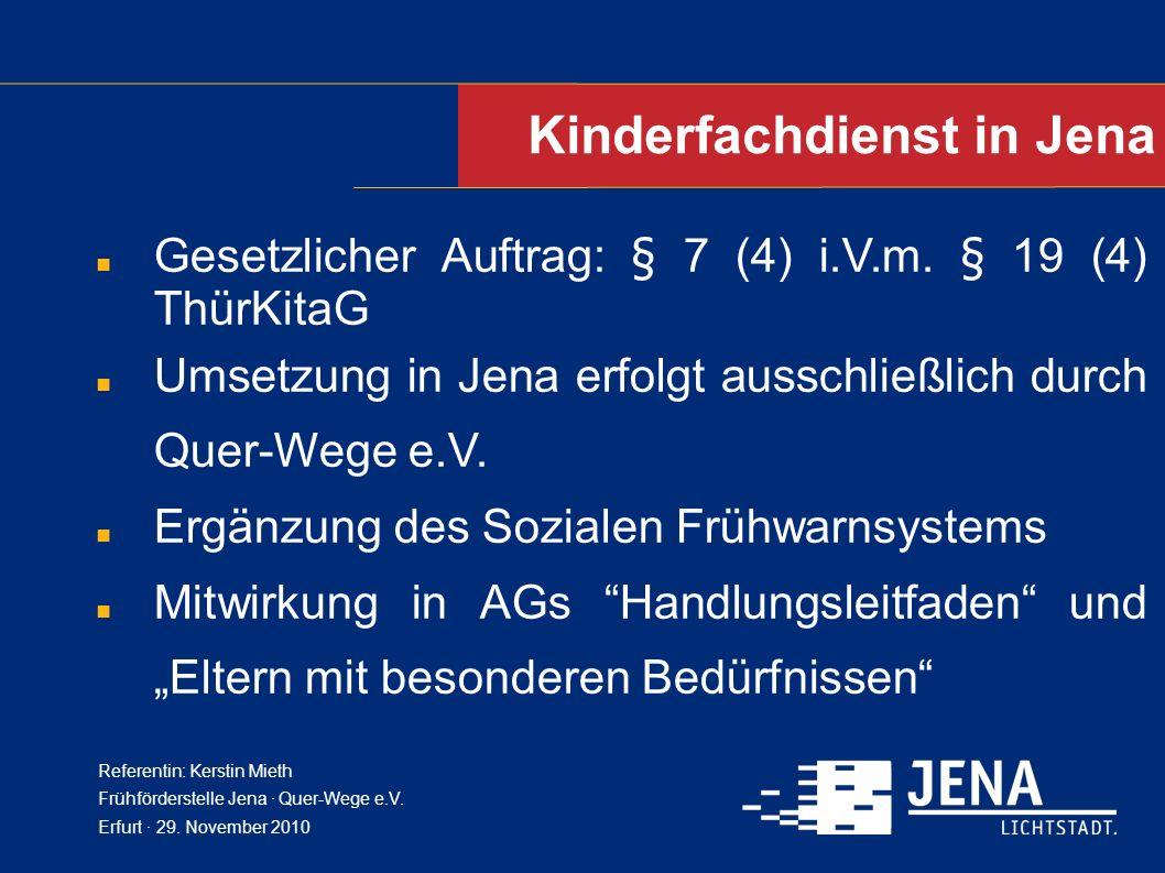 Kinderfachdienst in Jena Gesetzlicher Auftrag: § 7 (4) i.V.m. § 19 (4) ThürKitaG Umsetzung in Jena erfolgt ausschließlich durch Quer-Wege e.V. Ergänzu