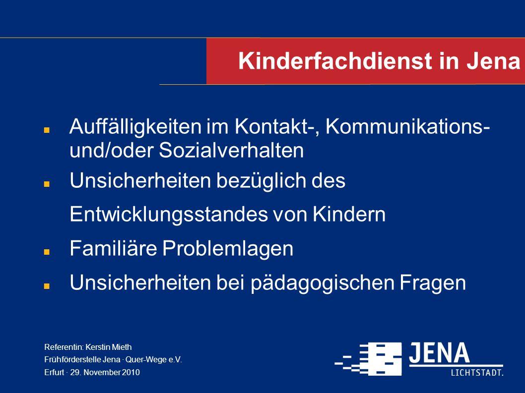 Kinderfachdienst in Jena Auffälligkeiten im Kontakt-, Kommunikations- und/oder Sozialverhalten Unsicherheiten bezüglich des Entwicklungsstandes von Ki