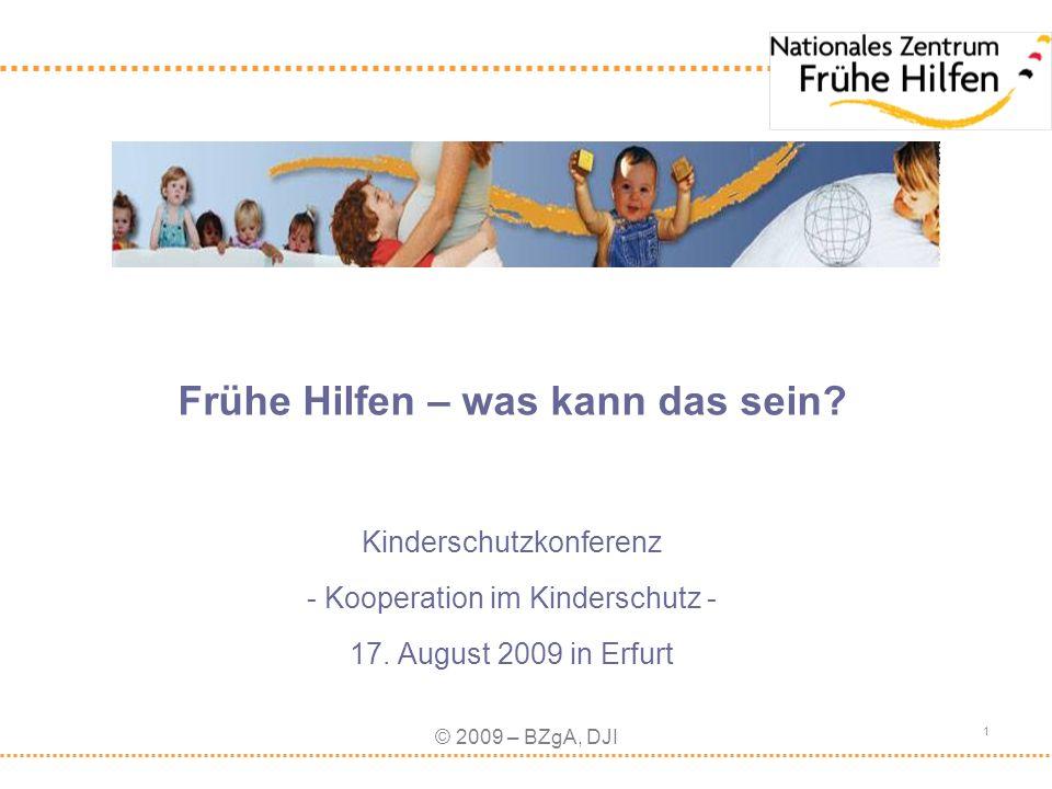 © 2009 – BZgA, DJI 1 Frühe Hilfen – was kann das sein? Kinderschutzkonferenz - Kooperation im Kinderschutz - 17. August 2009 in Erfurt