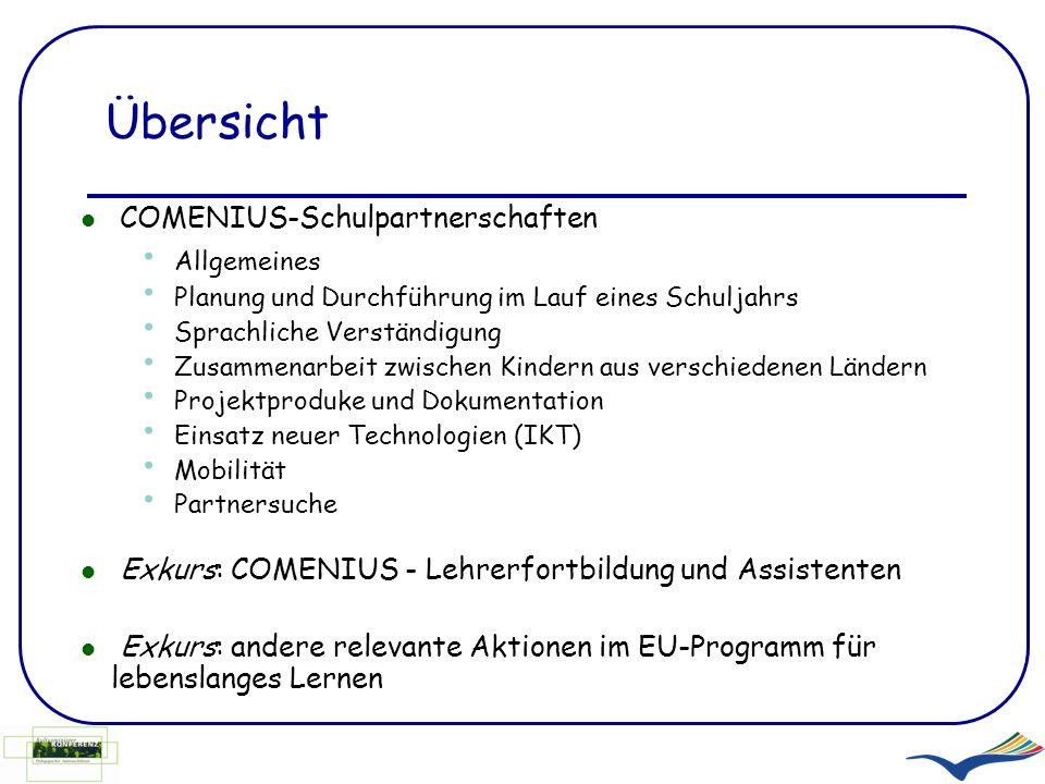 Ein wenig Statistik: 1.130 laufende COMENIUS-Schulpartnerschaften in Deutschland (November 2008) davon 24 vorschulischer Bereich 218 Grundschulen Treffer bei Google bei Eingabe Europa in der Grundschule: 1.520.000 Europa im Kindergarten: 1.440.000 } ca.