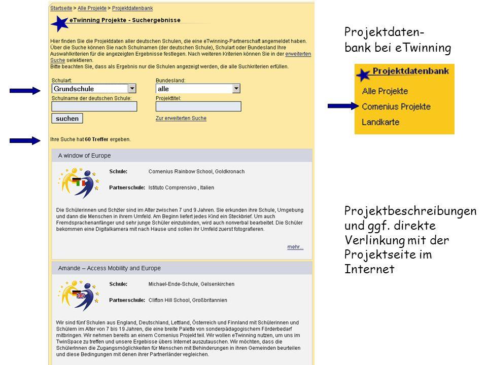 Projektdaten- bank bei eTwinning Projektbeschreibungen und ggf. direkte Verlinkung mit der Projektseite im Internet