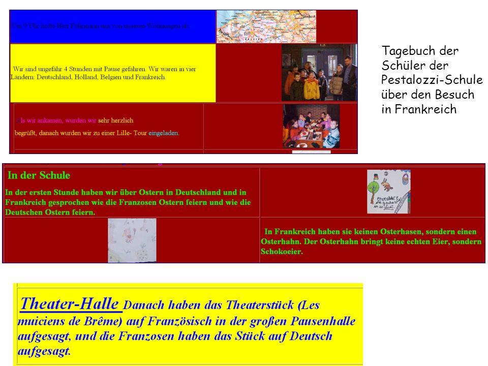 Tagebuch der Schüler der Pestalozzi-Schule über den Besuch in Frankreich