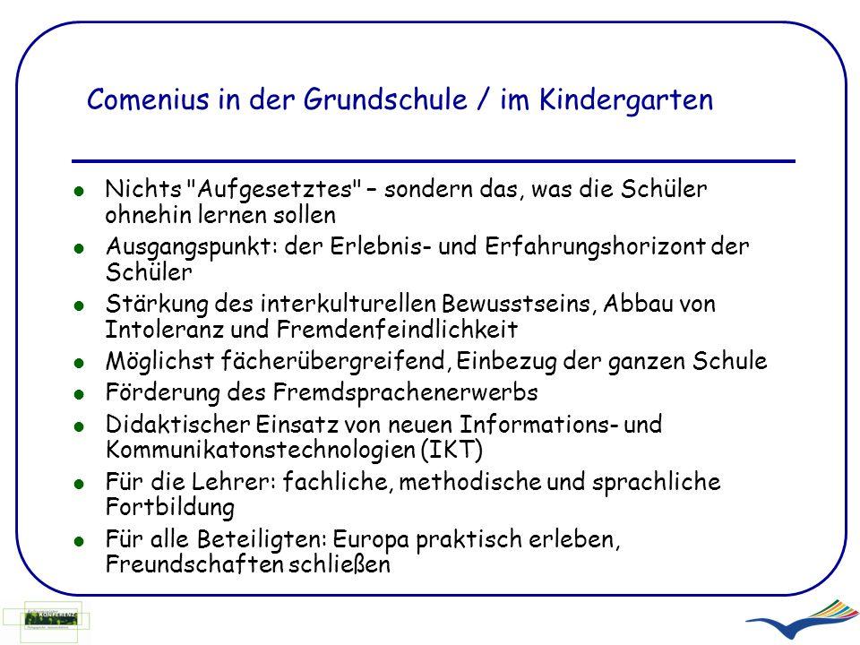 COMENIUS Für Schulen und vorschulische Einrichtungen Multilaterale Schulpartnerschaften Lehrerfortbildung COMENIUS-Assistenten Nationale Agentur: Pädagogischer Austauschdienst im Sekretariat der KMK (PAD) www.kmk-pad.org