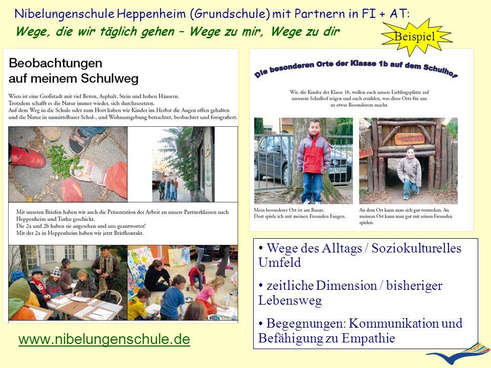 Nibelungenschule Heppenheim (Grundschule) mit Partnern in FI + AT: Wege, die wir täglich gehen – Wege zu mir, Wege zu dir www.nibelungenschule.de Wege