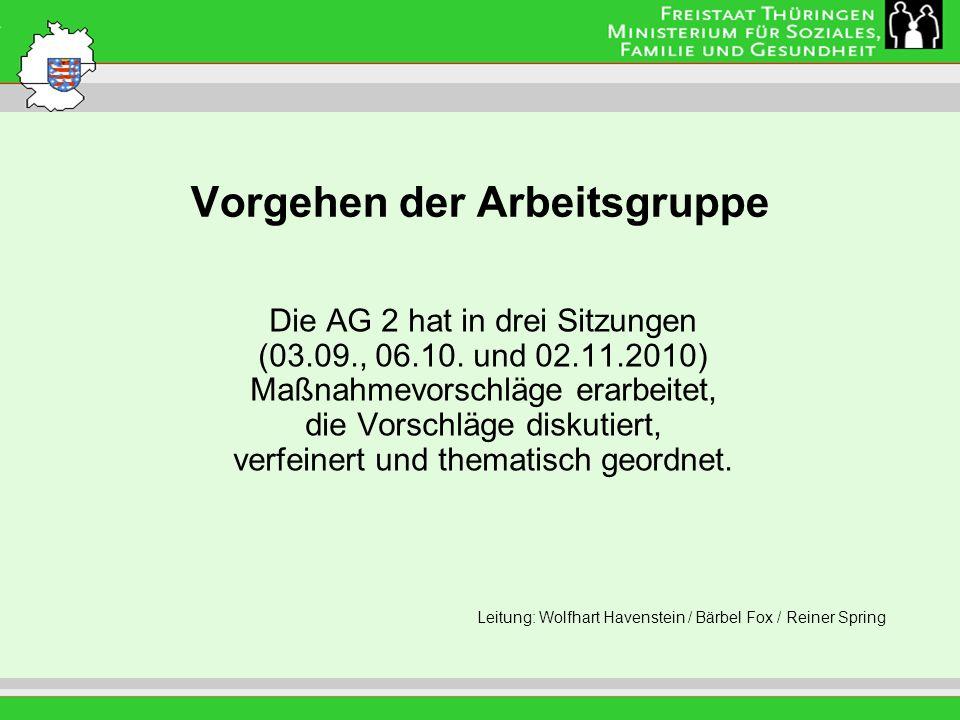 Vorgehen der Arbeitsgruppe Die AG 2 hat in drei Sitzungen (03.09., 06.10. und 02.11.2010) Maßnahmevorschläge erarbeitet, die Vorschläge diskutiert, ve