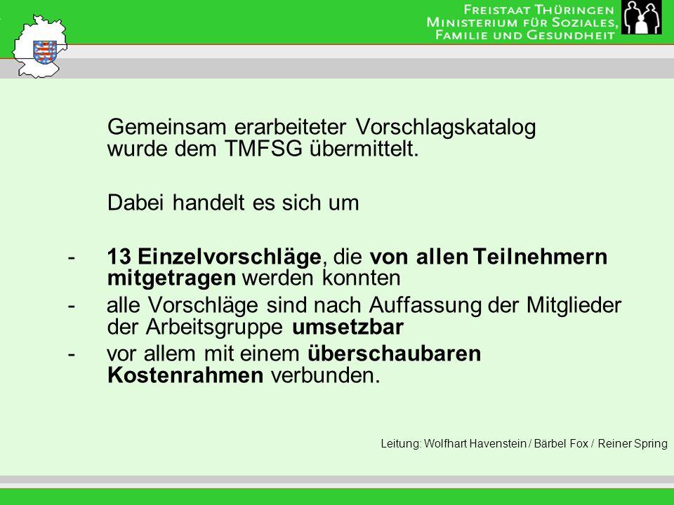 Leitung: Eva Morgenroth Gemeinsam erarbeiteter Vorschlagskatalog wurde dem TMFSG übermittelt. Dabei handelt es sich um - 13 Einzelvorschläge, die von