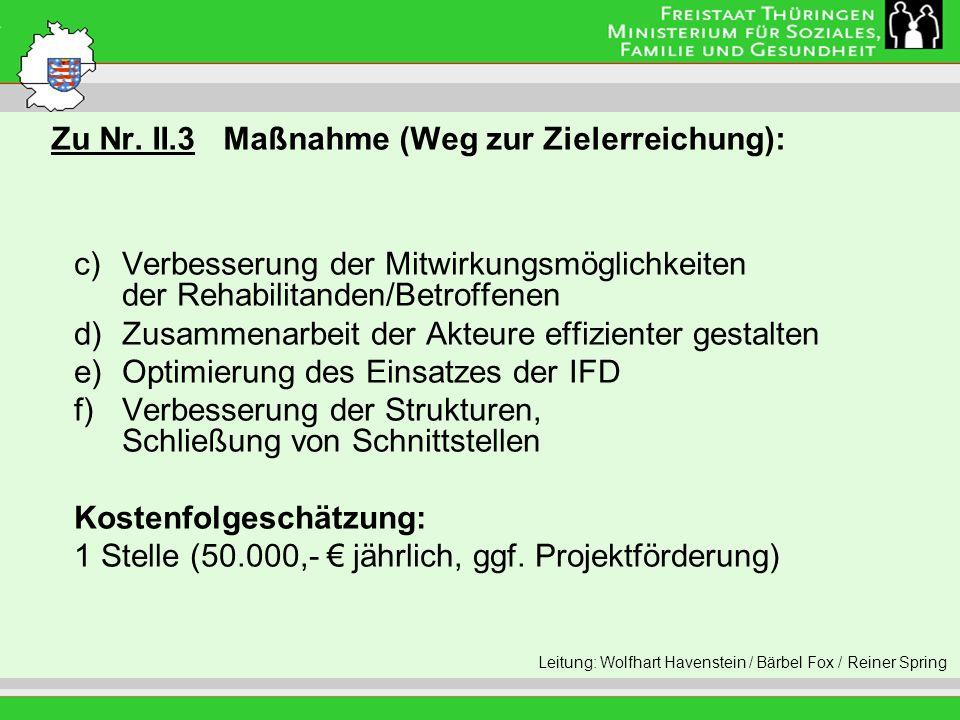 Zu Nr. II.3 Maßnahme (Weg zur Zielerreichung): Leitung: Eva Morgenroth c)Verbesserung der Mitwirkungsmöglichkeiten der Rehabilitanden/Betroffenen d)Zu