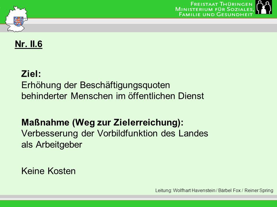 Nr. II.6 Leitung: Eva Morgenroth Ziel: Erhöhung der Beschäftigungsquoten behinderter Menschen im öffentlichen Dienst Maßnahme (Weg zur Zielerreichung)